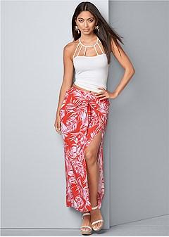 tie front maxi skirt