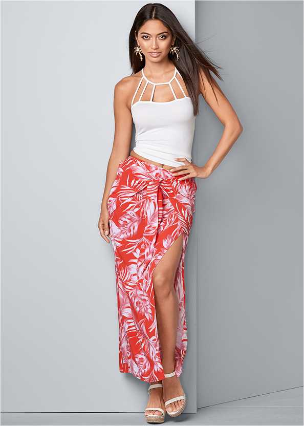 Tie Front Maxi Skirt,Strappy Detail Top,Ankle Strap Cork Heel,Palm Tree Earrings,Stud Detail Crossbody