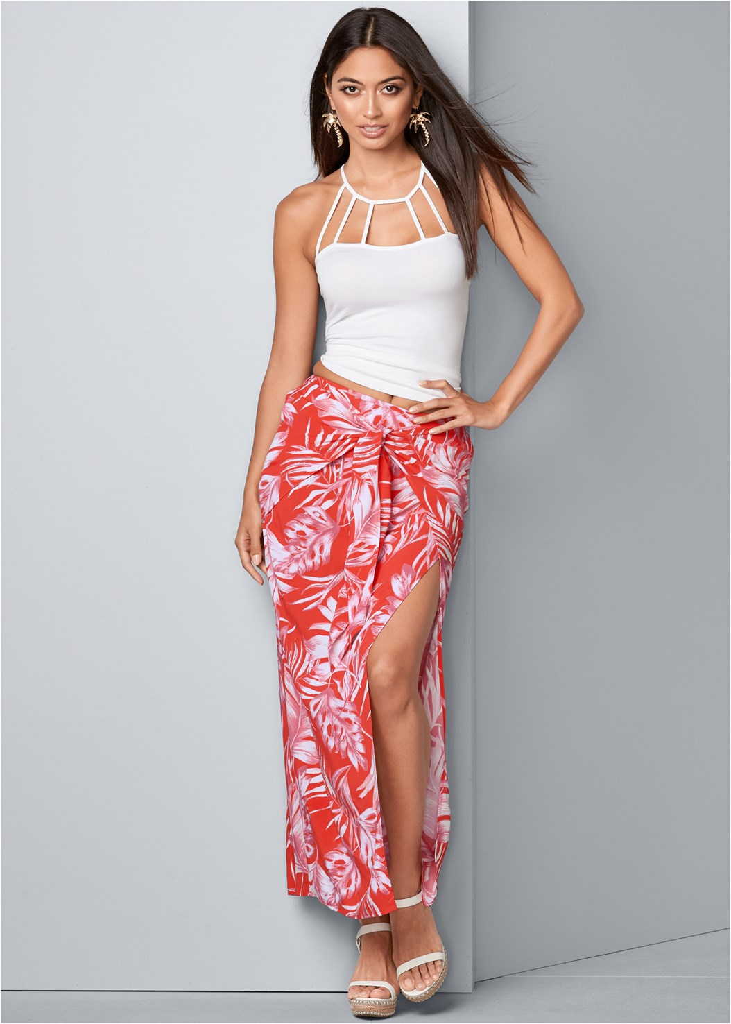 Tie Front Maxi Skirt,Strappy Detail Top,Palm Tree Earrings