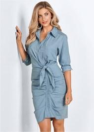 Alternate View Ruched Detail Button Down Tie Waist Shirt Dress