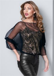 Front View Mesh Overlay Leopard Top