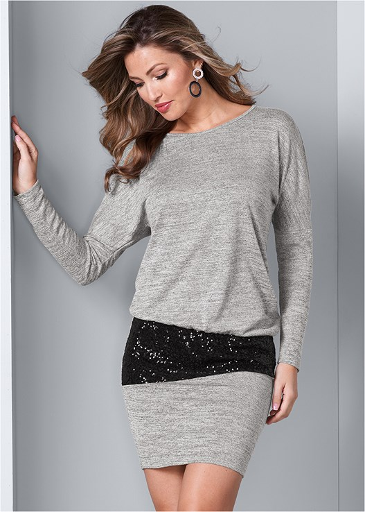 SEQUIN DETAIL DRESS,SMOOTH PLUNGE T-SHIRT BRA,EVERYDAY YOU NO SHOW PANTY,CIRCLE DETAIL BOOTIE