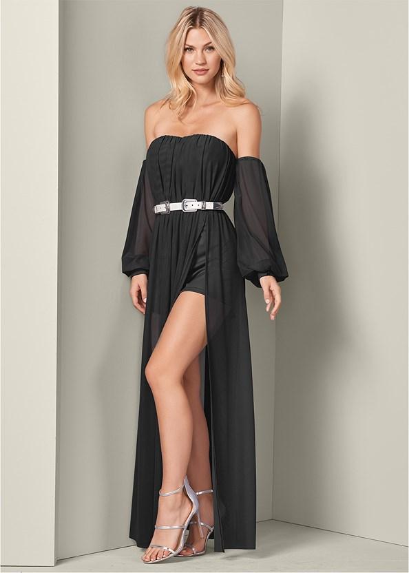 Off The Shoulder Dress,High Heel Strappy Sandals
