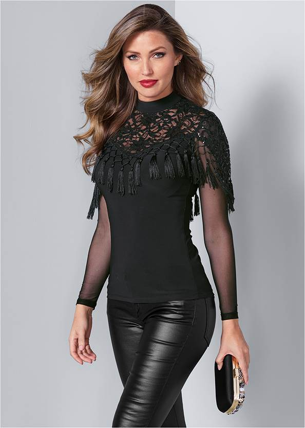 Front View Sequin Lace Tassel Top