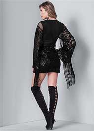 Back View Fringe Sleeve Sequin Dress