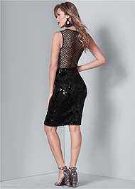 Back View Fishnet Sequin Mini Dress