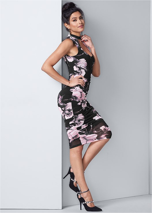 FLORAL BODYCON RUCHED DRESS,CONFIDENCE FULL BODY SHAPER,PEARL EMBELLISHED HEELS,RHINESTONE FRINGE EARRINGS