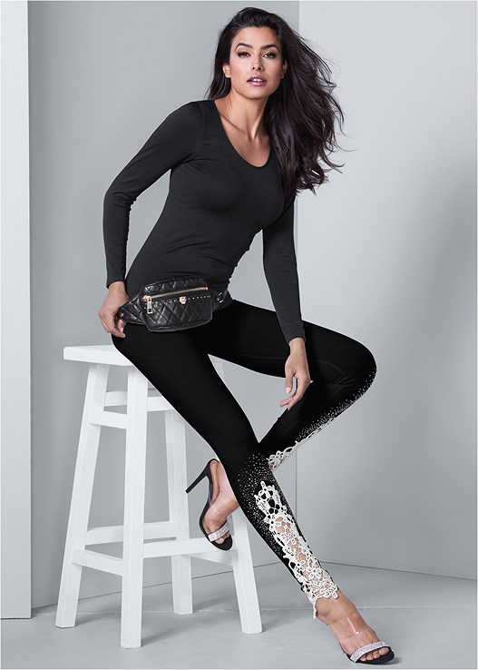 LACE DETAIL LEGGINGS,LONG AND LEAN TEE,FAUX LEATHER LACE UP JACKET,EMBELLISHED WAIST BELT,QUILTED BELT BAG