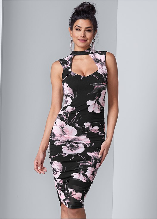 FLORAL BODYCON RUCHED DRESS,CONFIDENCE FULL BODY SHAPER