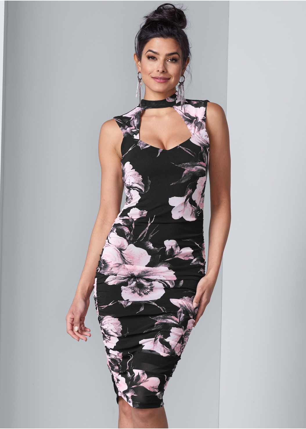 Floral Bodycon Ruched Dress,Confidence Full Body Shaper,Faux Suede Pointy Booties,Rhinestone Fringe Earrings
