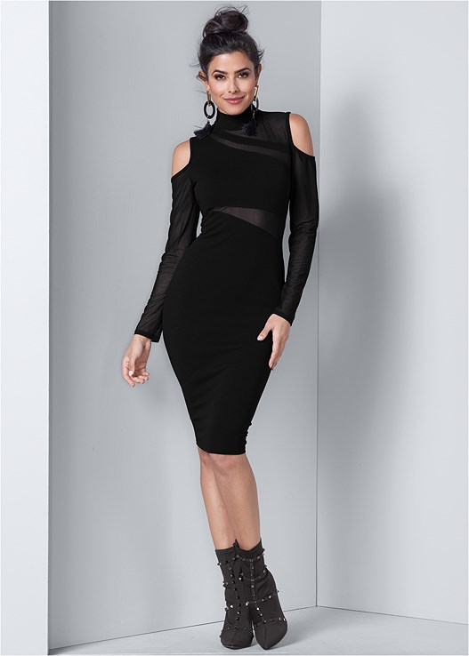 COLD SHOULDER BODYCON DRESS,FULL FIGURE STRAPLESS BRA,STUD DETAIL BOOTIES