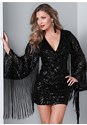 Front View Fringe Sleeve Sequin Dress