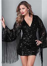 Front View Fringe Sleeve Sequin Dress