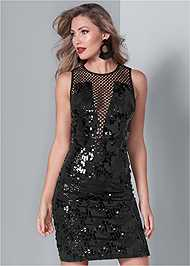Front View Fishnet Sequin Mini Dress