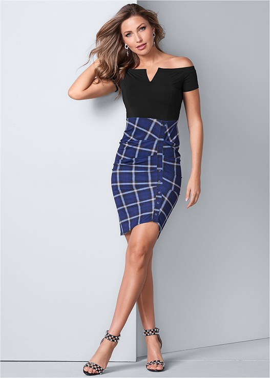 OFF SHOULDER PLAID DRESS,EVERYDAY YOU STRAPLESS BRA,FAUX LEATHER LACE UP JACKET,CUT OUT DETAIL HEELS