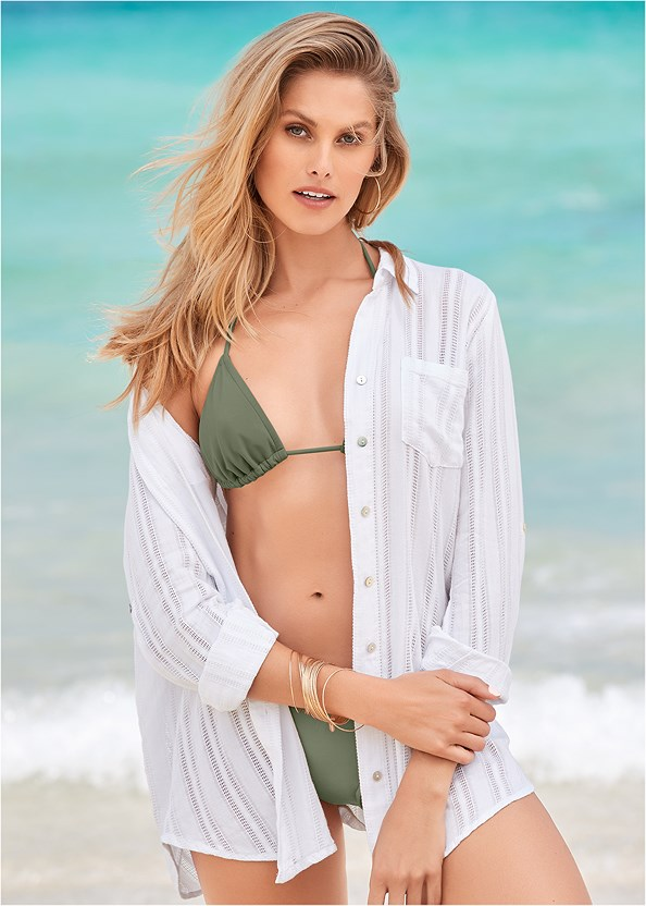 Button Down Shirt Cover-Up,Triangle String Bikini Top,Low Rise Classic Bikini Bottom ,Tribal Triangle,Tribal Low Rise Bottom,Tribal One-Piece,Wicker Straw Bag