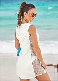 Back View Fishnet Hooded Cover-Up