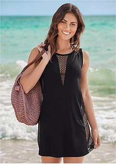 fishnet hooded cover-up