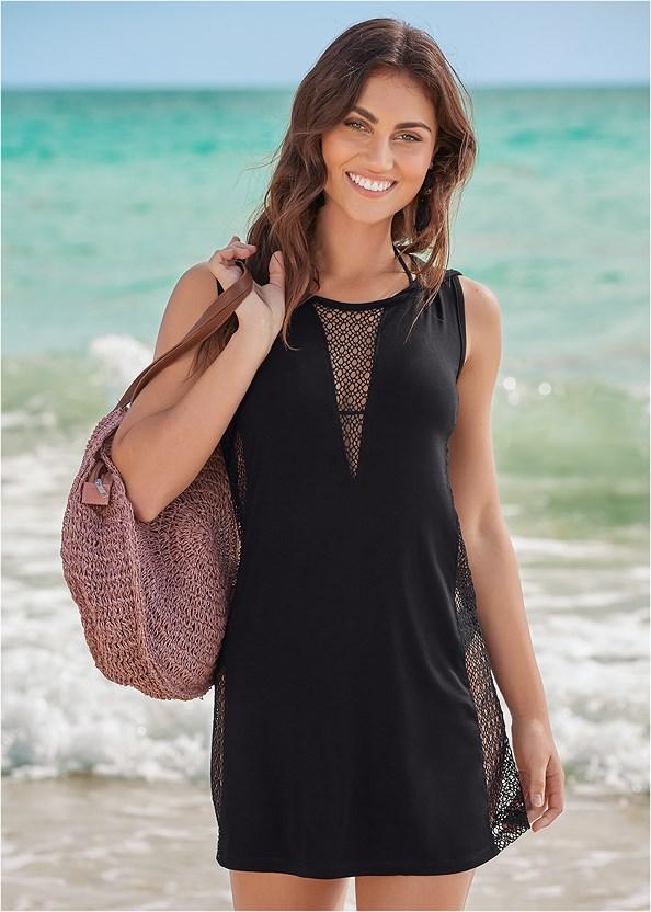 Fishnet Hooded Cover-Up,Triangle String Bikini Top,Low Rise Classic Bikini Bottom ,Scoop Front Classic Bikini Bottom