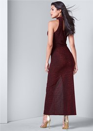 Back View High Slit Glitter Dress