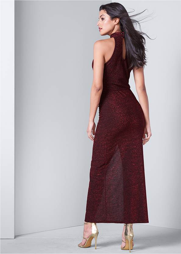 Back View High Slit Glitter Dress