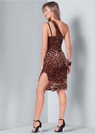 Back View Sequin One Shoulder Dress