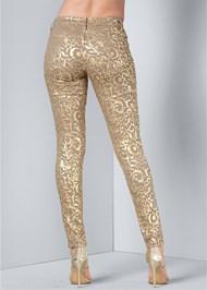 Back View Metallic Print Pants