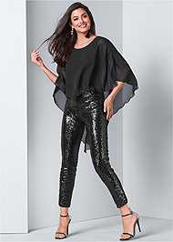 Front View Sequin Jumpsuit