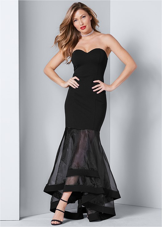 STRAPLESS GOWN,SMOOTH LONGLINE PUSH UP BRA,EMBELLISHED STRAPPY HEEL,HIGH HEEL STRAPPY SANDALS