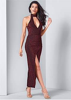 high slit glitter dress