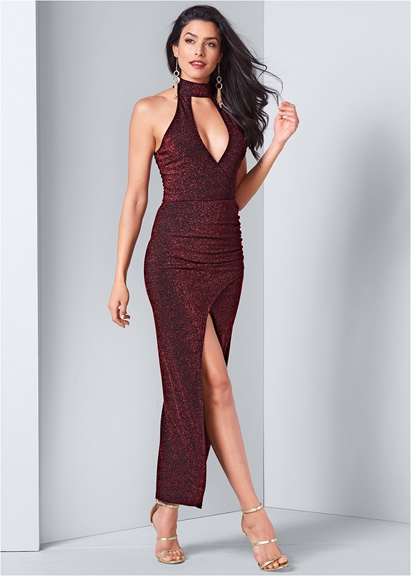 High Slit Glitter Dress,Silicone Backless Lace Bra,High Heel Strappy Sandals