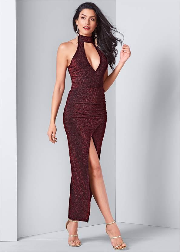 High Slit Glitter Dress,High Heel Strappy Sandals