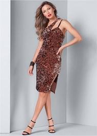 Front View Sequin One Shoulder Dress