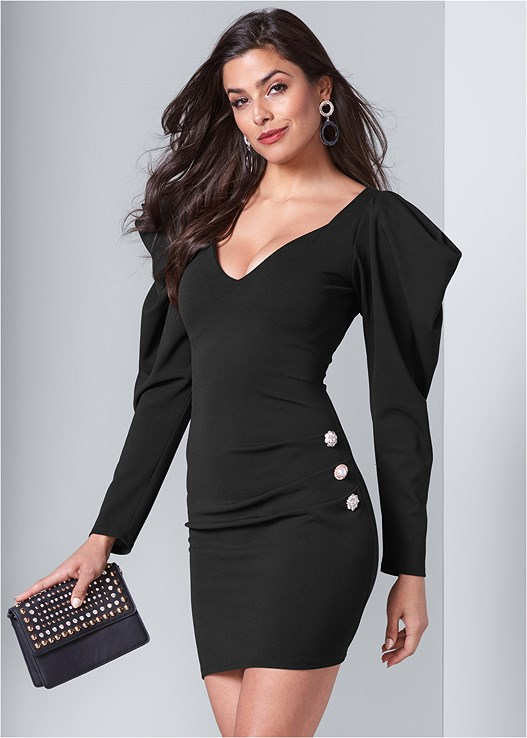 BUTTON DETAIL DRESS,STUD DETAIL HANDBAG
