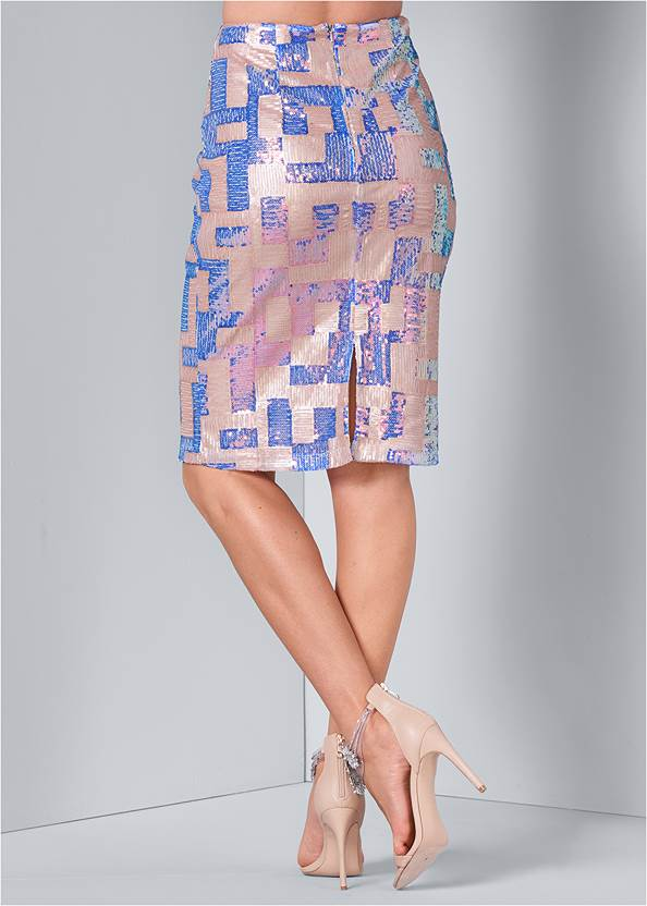 Back View Color Block Sequin Skirt