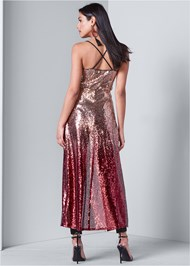 Back View Ombre Sequin Maxi Top