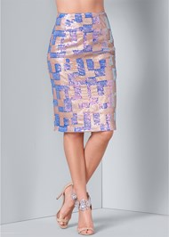Alternate View Color Block Sequin Skirt