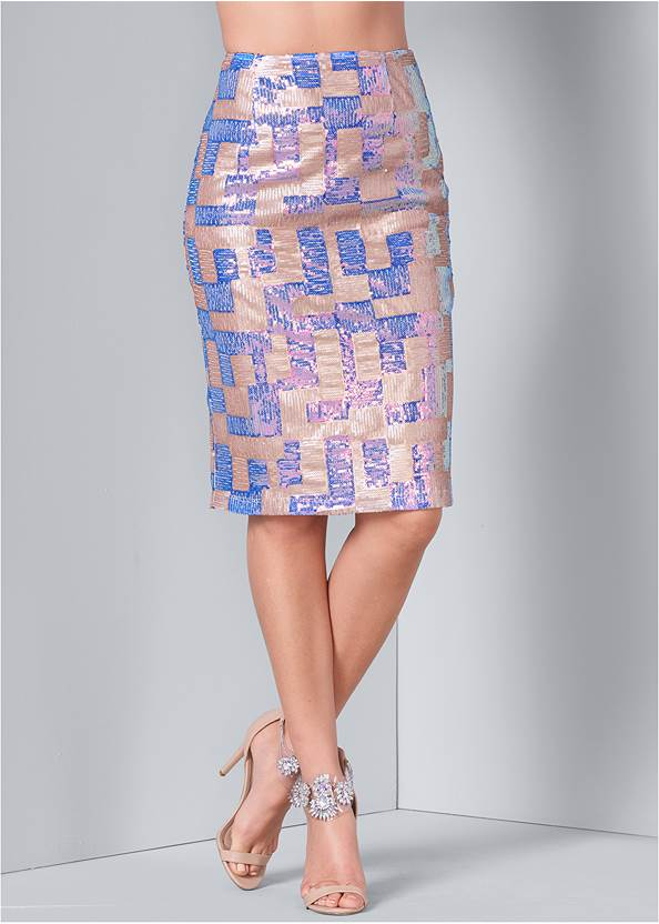 Alternate View Color Block Sequin Skirt