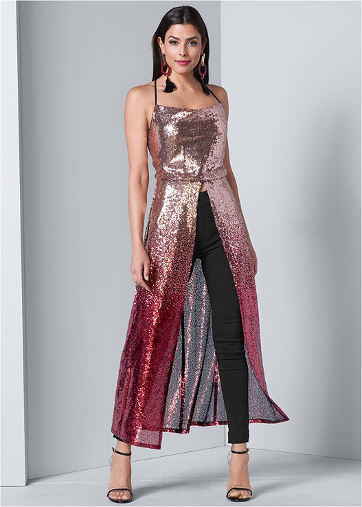 OMBRE SEQUIN MAXI TOP,SLIMMING STRETCH JEGGINGS,LUCITE DETAIL HEELS