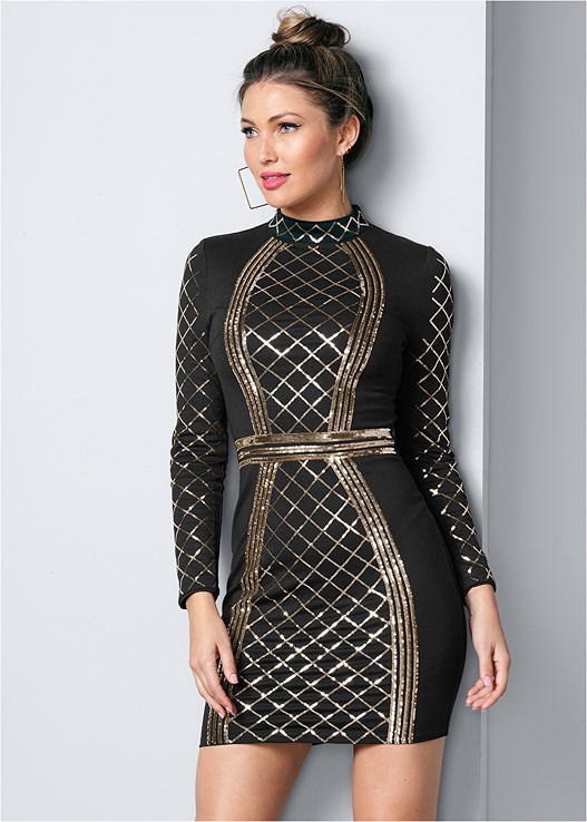 SEQUIN BODYCON DRESS,CONFIDENCE FULL BODY SHAPER,LACE UP BOOTIE,SQUARE HOOP EARRINGS