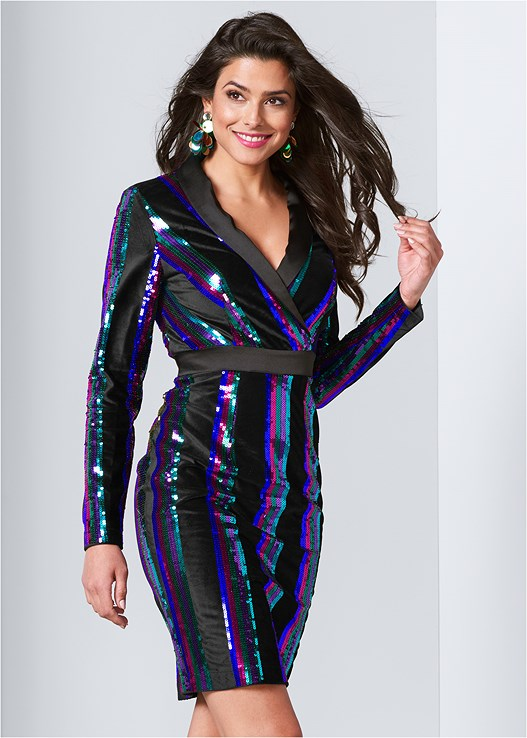 SEQUIN BLAZER DRESS,SEAMLESS FULL BODY SHAPER,PLATFORM HEELS,STUDDED BELT BAG