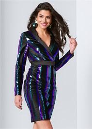 Front View Sequin Blazer Dress