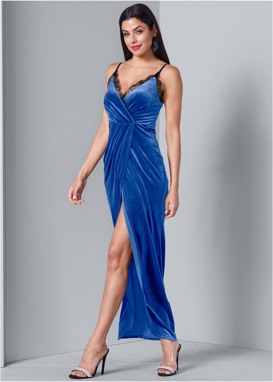Faux Wrap Velvet Dress,Smooth Longline Push Up Bra