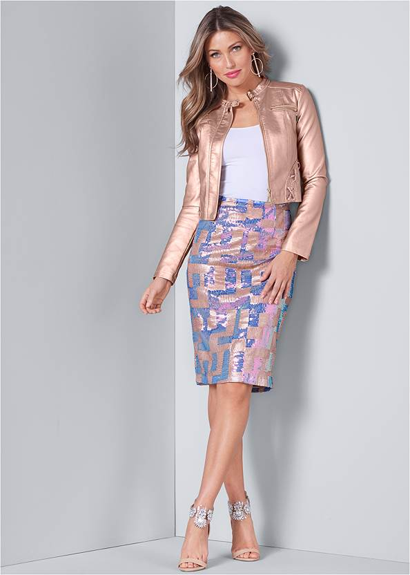 Color Block Sequin Skirt,Basic Cami Two Pack,Faux Leather Lace Up Jacket