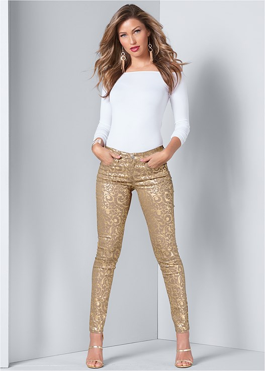 METALLIC PRINT PANTS,OFF THE SHOULDER TOP,2 PACK LACE HIPSTER PANTIES,HIGH HEEL STRAPPY SANDALS