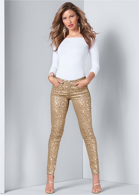 Metallic Print Pants,Off The Shoulder Top,High Heel Strappy Sandals