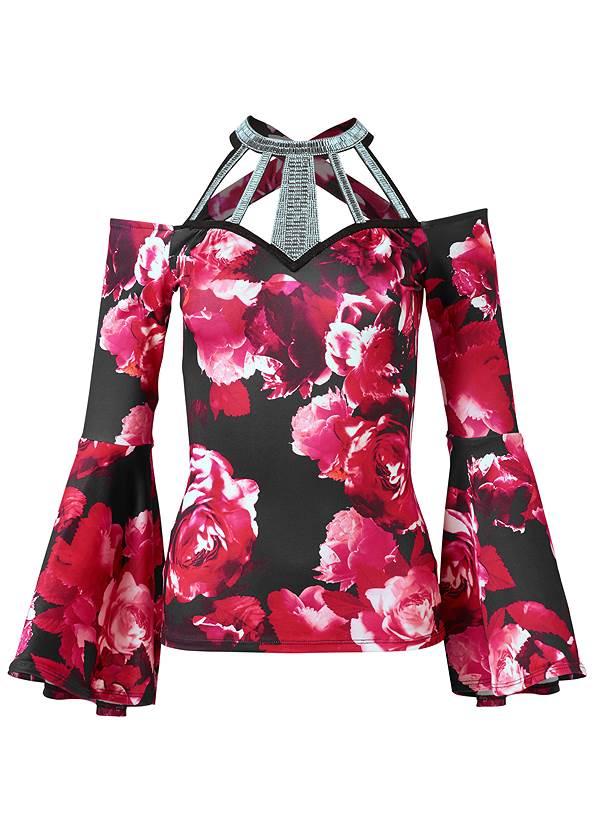 Alternate View Floral Bell Sleeve Top