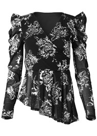Alternate View Puff Sleeve Floral Top