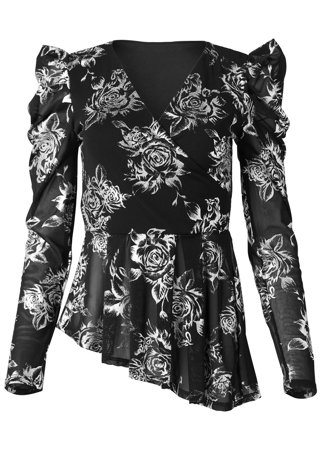 Puff Sleeve Floral Top,Mid Rise Slimming Stretch Jeggings