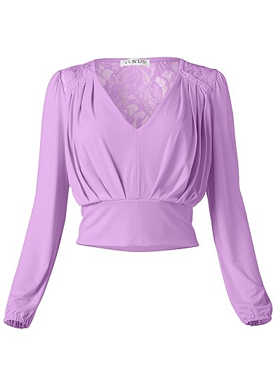 Plus Size V-Neck Pleated Top